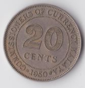 Malaya, George VI, 20 cents 1950, VF, WB2827